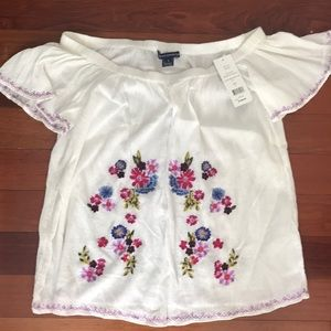 French Connection embroidered white peasant top